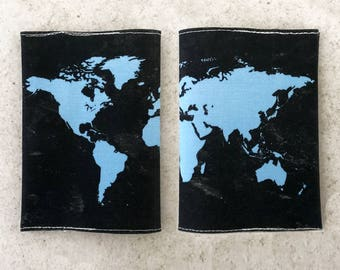 Black World Map Passport Cover - Passport case with a print of the map of the world