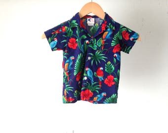 vintage KID'S hawaiian shirt blue & red TROPICAL BIRDS button up down shirt 4T toddler shirt