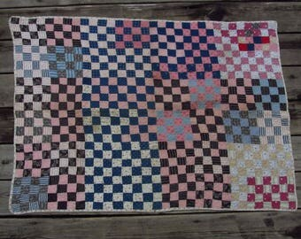 Antique Patchwork Quilt 16 Patch Baby Crib Blanket Early 1900s Hand Quilted