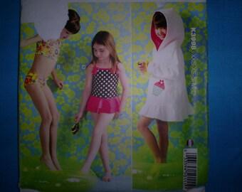 Kwik Sew 3998 Girl's Size S-XS-S-M-L Cover up and Swimsuits.