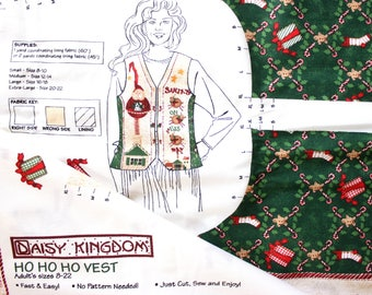 Daisy Kingdom Ho Ho Ho Vest in Adult Size 8 - 22 . Christmas Vest . Sew It Yourself . Panel Vest Holiday . Santa On His Way Gift for Grandma