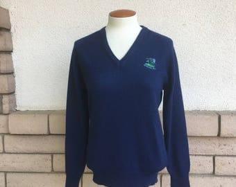 Vintage Women's Spyglass Hill Golf Sweater 1960's 1970's Navy Blue V Neck Pullover Size S-M