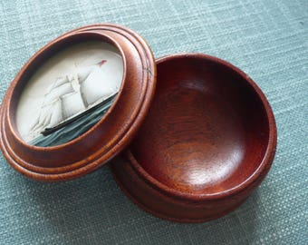 Treen round trinket box with handpainted galleon top under glass
