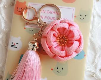 Pink Kanzashi fabric flower,Bag Accessory,Flower Key Chain Charm,Purse Clip,Cell phone strap,Mobile phone charm,Purse Charm