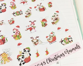 0048 Adorable Animals Christmas Holiday Baby Animals Decorative Sheet of Stickers Planner Stickers Erin Condren Life Planner Happy Planner