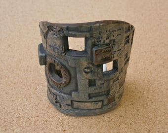Blue cyberpunk ceramic tealight holder, stoneware candle holder, votive holder with laptop circuit board pattern