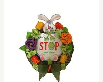 ON SALE 50% OFF Easter Bunny Wreath Spring Wreath Easter Wreath Rustic Spring Easter Welcome Wreath Spring Hydrangea Wreath Carrot Wreath Sp