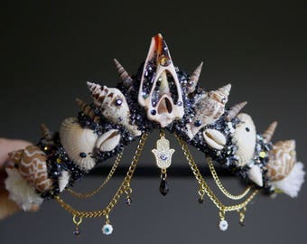 The HAND OF FATIMA Mermaid Flower Crown / headband / headdress with Swarovski crystal details