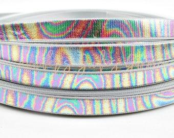 """3/8"""", Hologram Ribbon, Rainbow Ribbon, Rainbow Hologram, Holographic Ribbon, Skinny Ribbon, DIY Hair Bows, Wholesale Ribbon"""