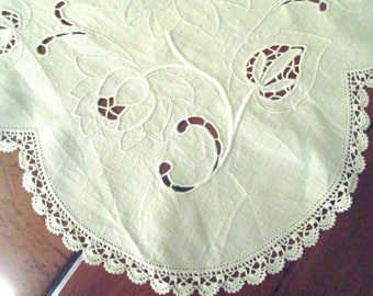 White Linen Tablecloth, Hand Embroidered, Crochet Trim