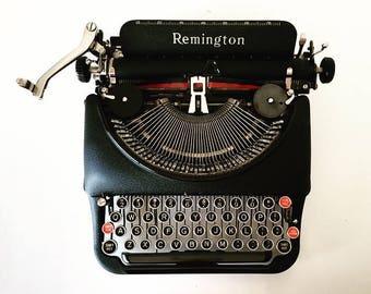 Vintage 1938 Remington Rand Streamline Model 5 Typewriter with Case