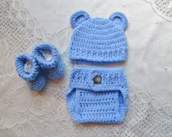 READY TO SHIP - 0 to 3 Month Size - Baby Blue Teddy Bear Crochet Hat, Diaper Cover and Bootie Set - Photo Prop