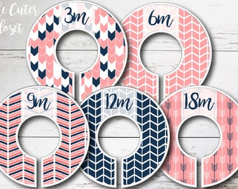 Baby Closet Dividers - Clothes Organizers - Pink n' Navy Arrows Once