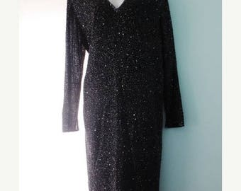 30% OFF SALE Vintage Black Dress Beaded Long Sleeve Size 10 Medium Cocktail Dressy Occasion