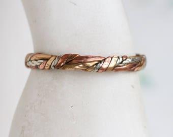 Copper Cuff Bracelet - Twisted Boho Small Bracelet