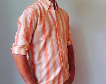 50%DISCOUNT 80s white tan salmon striped long sleeved shirt 41