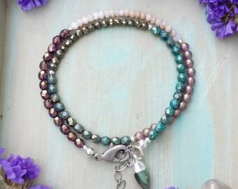 Gemstone Wrap Bracelet, Pink Opal, Pyrite, Labradorite, Glass, One-of-a-kind