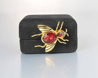 Coro Bug Brooch, Red rhinestone Fly Brooch, Adolph Katz Insect jewelry