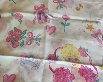 Vintage 1980's Barbie pillowcases, pink, Floral, Barbie-Set of Two