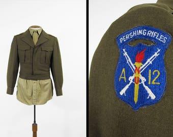 Vintage WWII Pershing Rifles Ike Jacket US Army Uniform 1940s Wool Field Uniform - Size 36