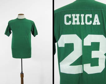 Vintage Chica Jersey T-shirt Kelly Green Downerwear Number 23 Made in USA - Large