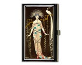 Art Deco Peacock Business Card Case, French Deco Credit Card Case, Retro Slim Metal Wallet, Luxe Business Gift, Office Accessory