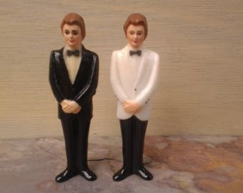 Vintage plastic grooms - gay wedding - gay marriage - same sex wedding - LGBTQ wedding - Mr and Mr - gay cake topper - grooms cake toppers