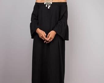 Black dress, off shoulder dress, short black dress, Long sleeved dress, little black dress, midi dress, open shoulder dress