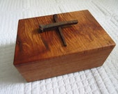 Father's Day Gift for Dad Mahogany Wooden Box with Rusty Nail Cross Men's Valet Box Jewelry Box Trinket Box Wooden Box Vintage Wooden Box
