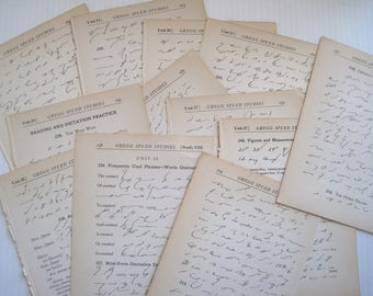 vintage Gregg Shorthand book pages - paper crafting, collage, assembly, scrapbooking - Package of 12 or 25 shorthand pages