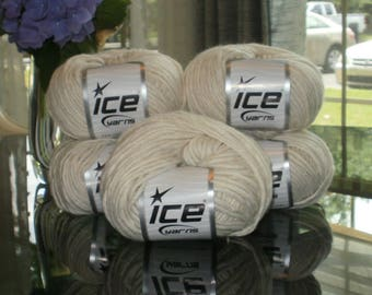 5 Skeins ECRU ICE YARN New