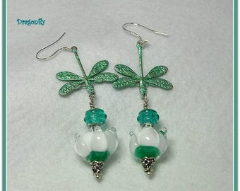 Green and White Earrings,Floral Earrings,Nature Earrings,Dragonfly Earrings,Unique Earrings,OOAK - DRAGONFLY