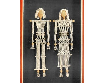 Instant Download PDF Macrame Pattern Tutorial Instructions & Diagrams to make a Wedding Couple Man Woman Picture Wall Hanging Knot Working