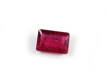 Tourmaline Faceted Emerald Cut Large Rubellite Tourmaline Pink Semi Precious Gemstone