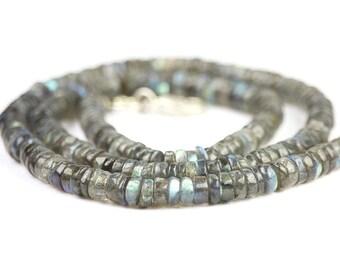 Labradorite Smooth Heshi Rondelles 10 Blue Yellow Flash Grey Semi Precious Gemstones
