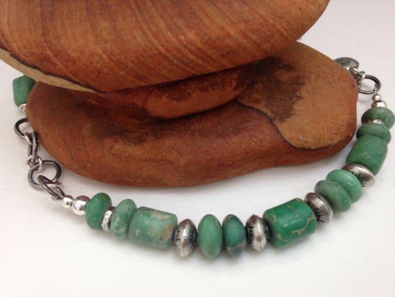 Handmade Jewelry, Green Utah Variscite, Sterling Silver Navajo Pearls, Beaded Bracelet, Southwestern Jewelry
