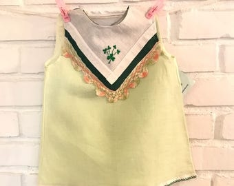Hanky Dress for that Irish Baby! Your little leprechaun. A green cotton/linen dress adorned with vintage handkerchiefs, green shamrocks!