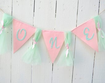 Pink Birthday Banner - Girl Birthday Banner - 1st birthday decorations - shabby chic birthday - birthday banner - Girl Birthday party