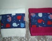 Patriotic whales hand/dish towel, red or white, Americana, kids' towel, seaside/beach, nautical, summer, ocean, 100% cotton terry