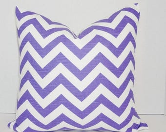 FALL is COMING SALE Purple & White Zig Zag Chevron Pillow Cover Decorative Throw Pillow Choose Size