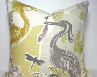 SPRING FORWARD SALE Decorative Bird Print Pillow Cover Mangrove Natural Bird Dragonfly Linen Blend Pillow Cover 18x18