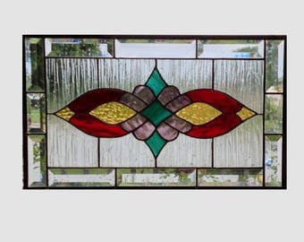 Victorian beveled stained glass panel window Red amber purple teal stained glass window panel window hanging  0259 19 1/2 x 11 1/2