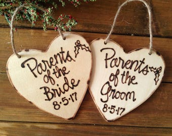 Christmas Ornaments for Parents of the Bride and Groom with YOUR Wedding Date First Christmas for Newlyweds Wood Hearts