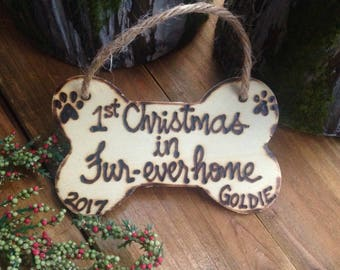 Christmas Ornament for Dog Pet Gift Furr-Ever Home Personalized Wood Dog Bone Holiday Resue Animal Adopt Shelter Pet Forever Home Family