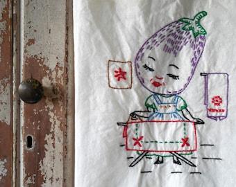 Vintage Tea Towels, Embroidered Tea Towels, Mrs. EggPlant - Ironing Day, Daily Chores Cotton Tea Towel, Vintage Kitchen Linens, Vtg Handmade
