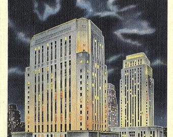 Kansas City, Missouri, Court House, City Hall, Night - Vintage Postcard - Postcard - Unused (LL)
