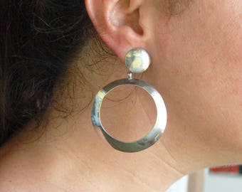 Large Hoop Earrings Sterling Silver Round Dangles Vintage Modernist Hoops Statement Jewelry