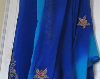 Blue Pakishtani/Indian  heavy embroidery  pure georgette    salwar kameez