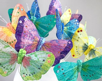 Light Rainbow Sparkle Shimmer Feather Butterflies / 12 Monarch Bird Feather Glitter Butterflies 3 Inch Wings/ More Colors Available