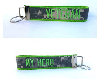 Lime Green Army Veteran Key Fob 2-Sided